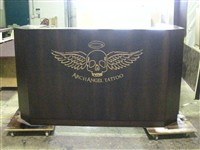 Reception Desk front with deep etch and glaze